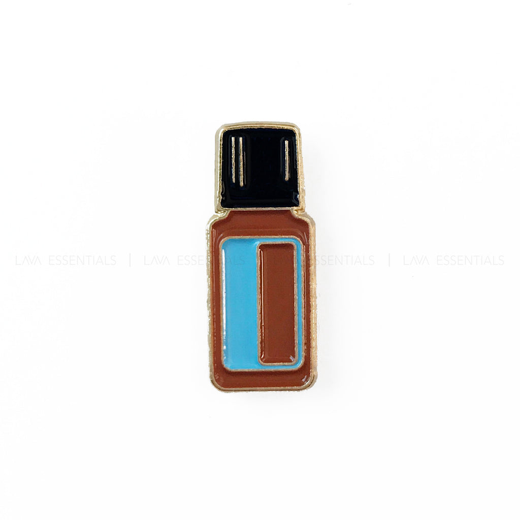 Blue Essential Oil Bottle Enamel Lapel Pin - Lava Essential Oils