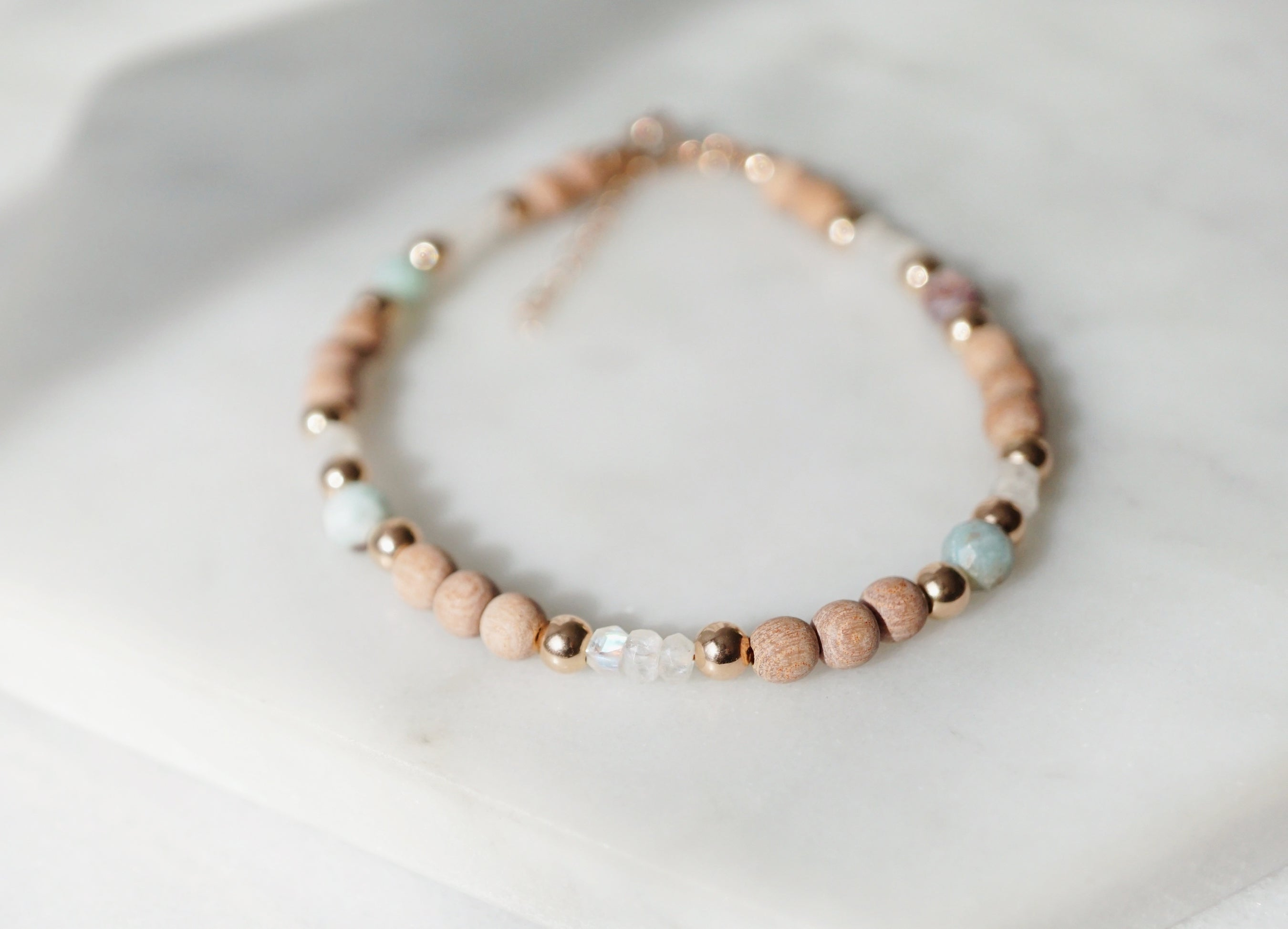 One-of-a-kind Dainty Rose Gold Rosewood, Larimar, Moonstone Aromatherapy Bracelet