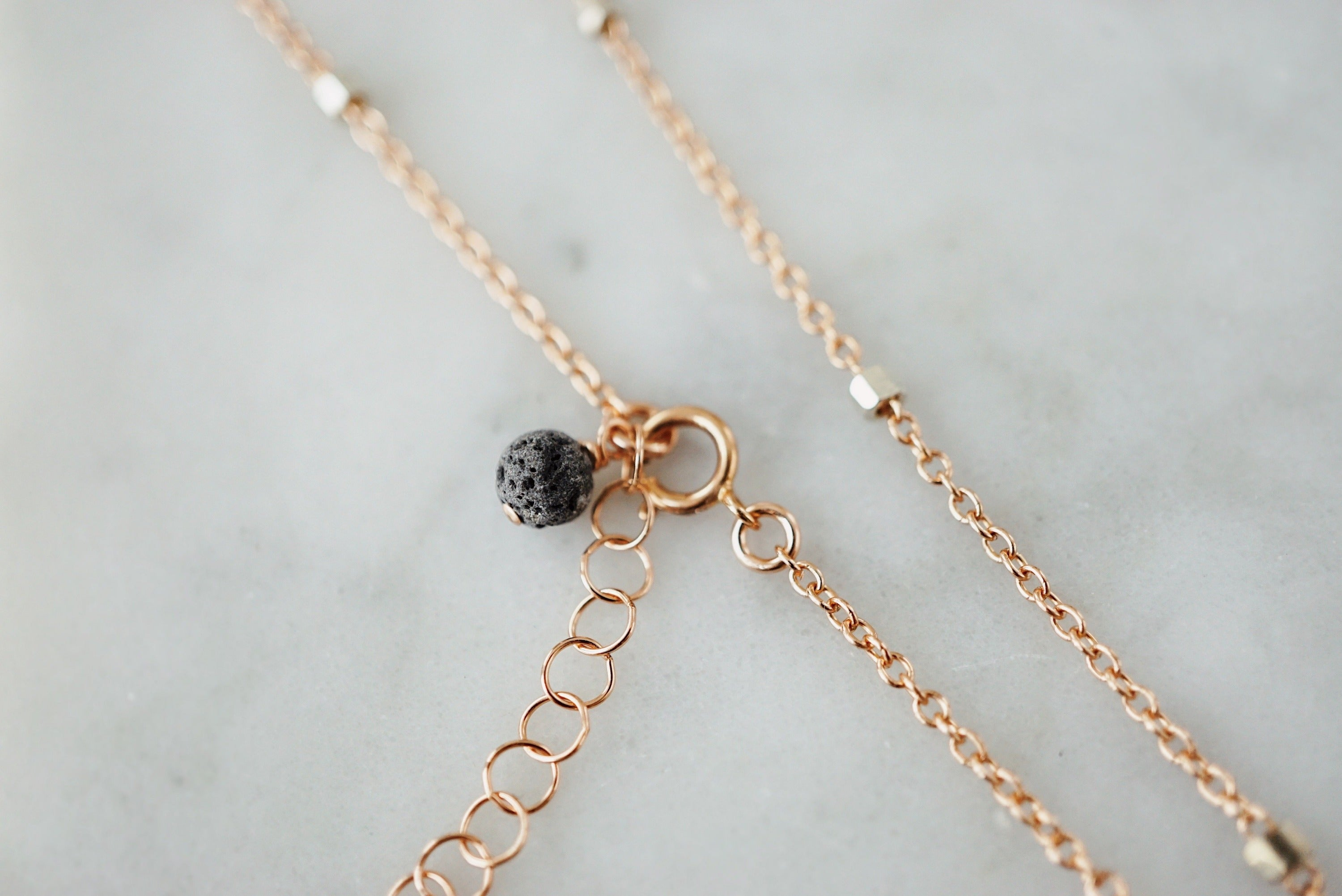 LUNA ✶ Petite Peach Moonstone Crescent Moon Necklace, Rose Gold & Sterling Silver