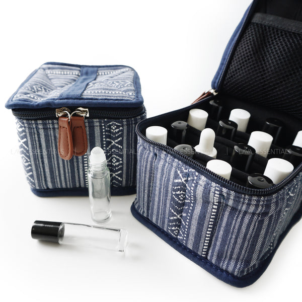 Blue 16 Roller, Dropper, Oil Bottle Essential Oil Bag with Handle