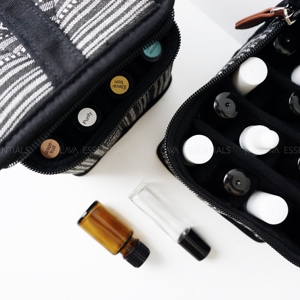 SECONDS SALE • Black 16 Roller, Dropper, Oil Bottle Essential Oil Bag with Handle - Lava Essential Oils