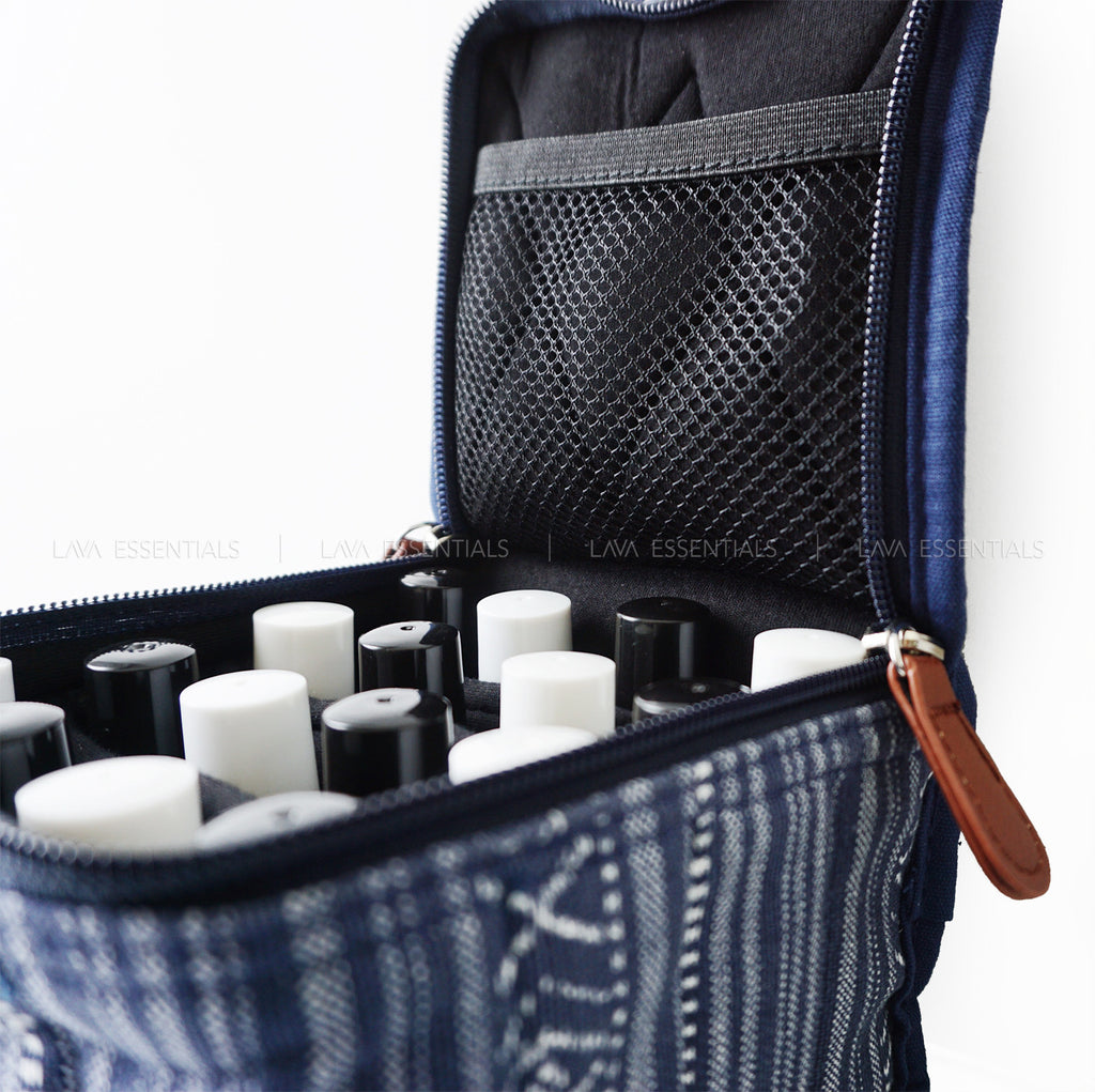 Blue 16 Roller, Dropper, Oil Bottle Essential Oil Bag with Handle - Lava Essential Oils