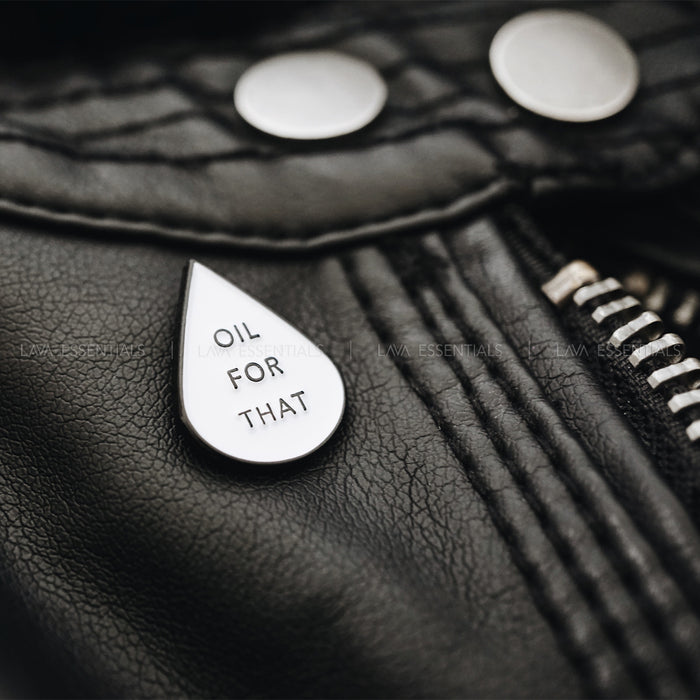 """Oil For That"" Essential Oil Teardrop Enamel Lapel Pin - Lava Essential Oils"