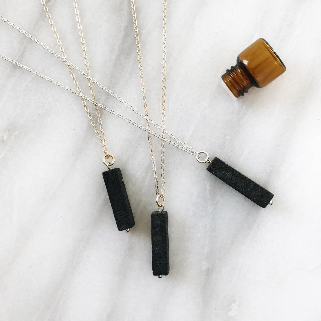 Vertical Lava Bar Minimalist Essential Oil Diffuser Necklace - MULTIPLE CHAIN OPTIONS - Lava Essential Oils