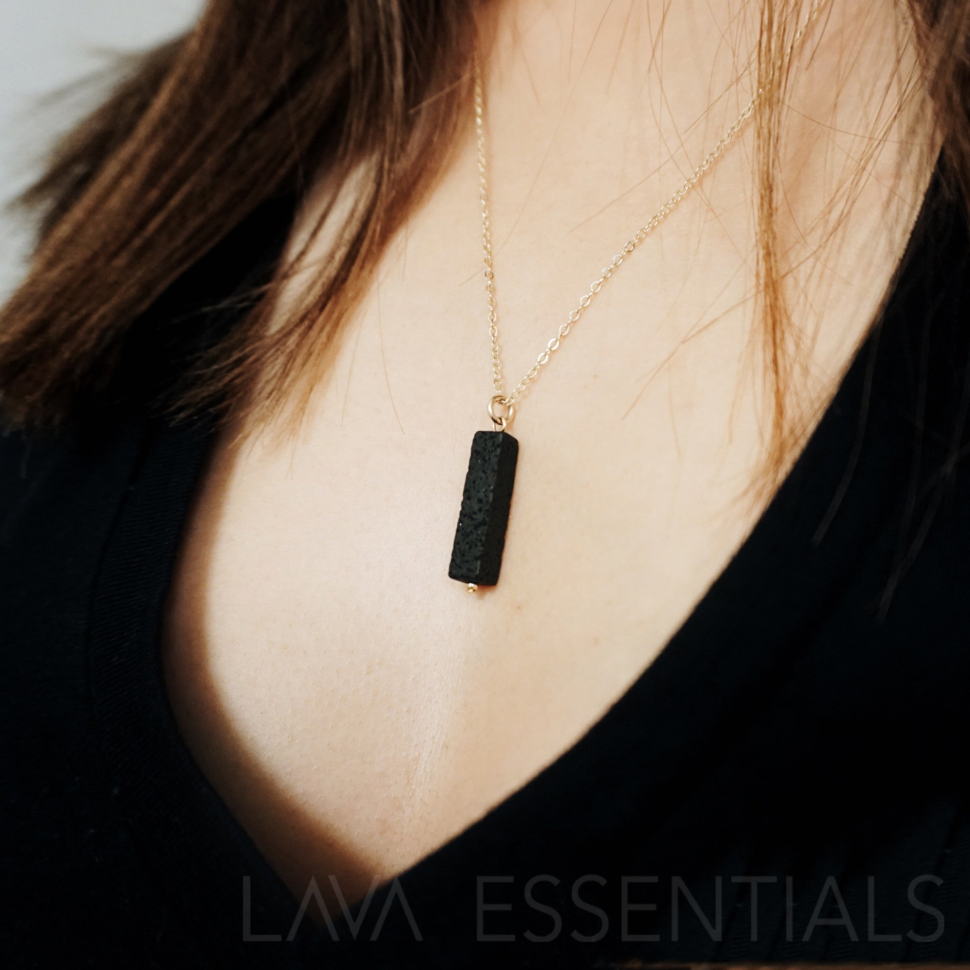 Vertical Lava Bar Minimal Essential Oil Diffuser Necklace [G]+[S] - Lava Essential Oils
