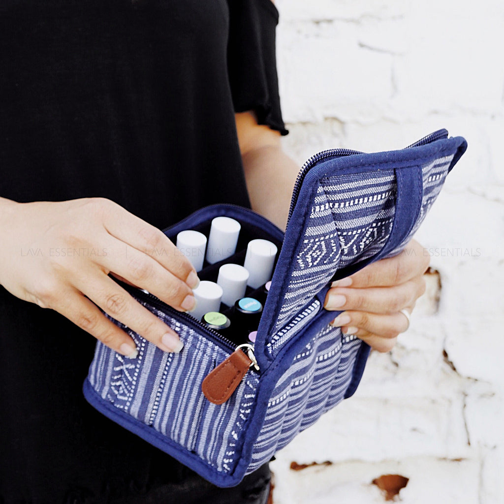 SECONDS SALE • Blue 16 Roller, Dropper, Oil Bottle Essential Oil Bag with Handle - Lava Essential Oils