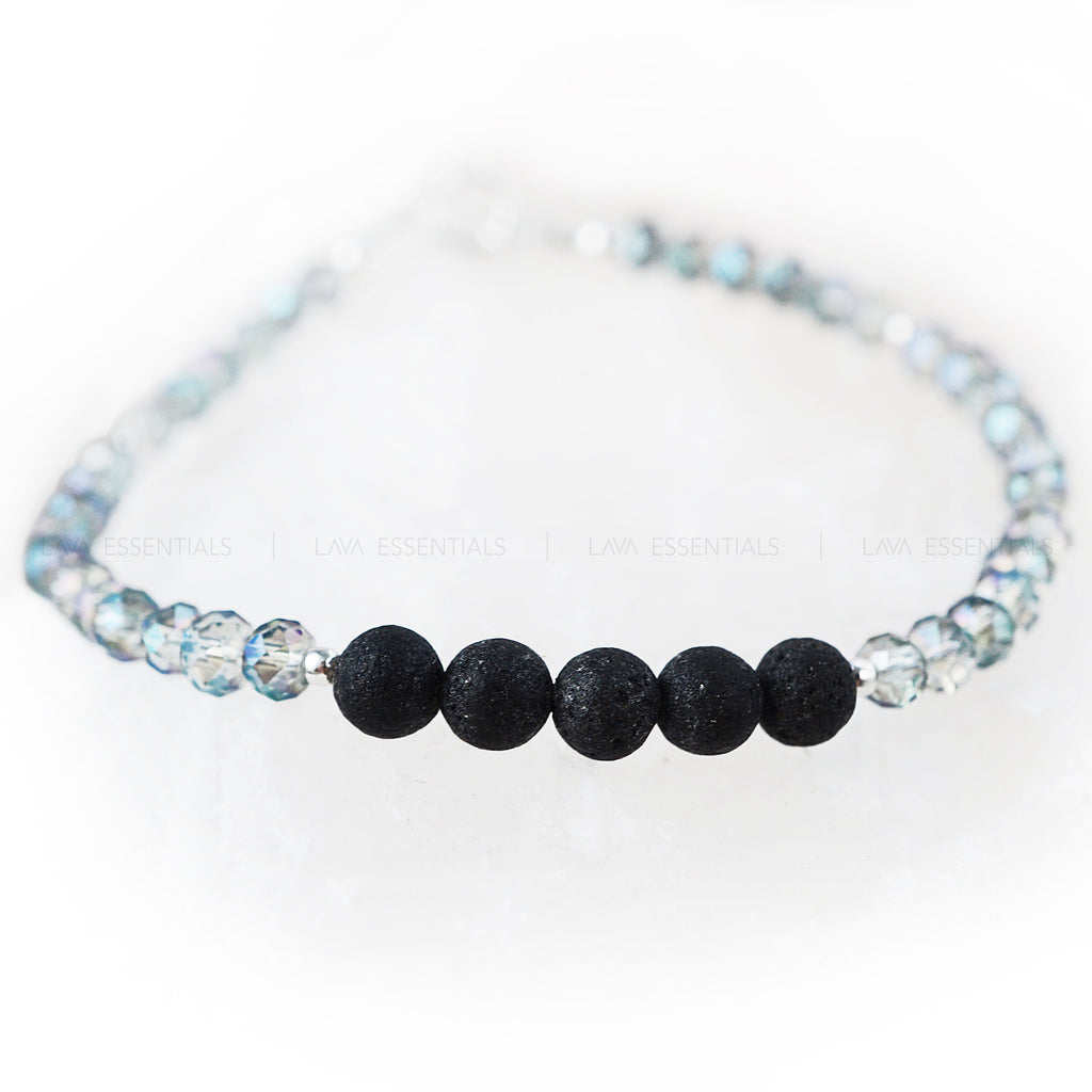 Mermaid Blue Faceted & Lava Bead Minimalist Essential Oil Diffuser Bracelet - Lava Essential Oils