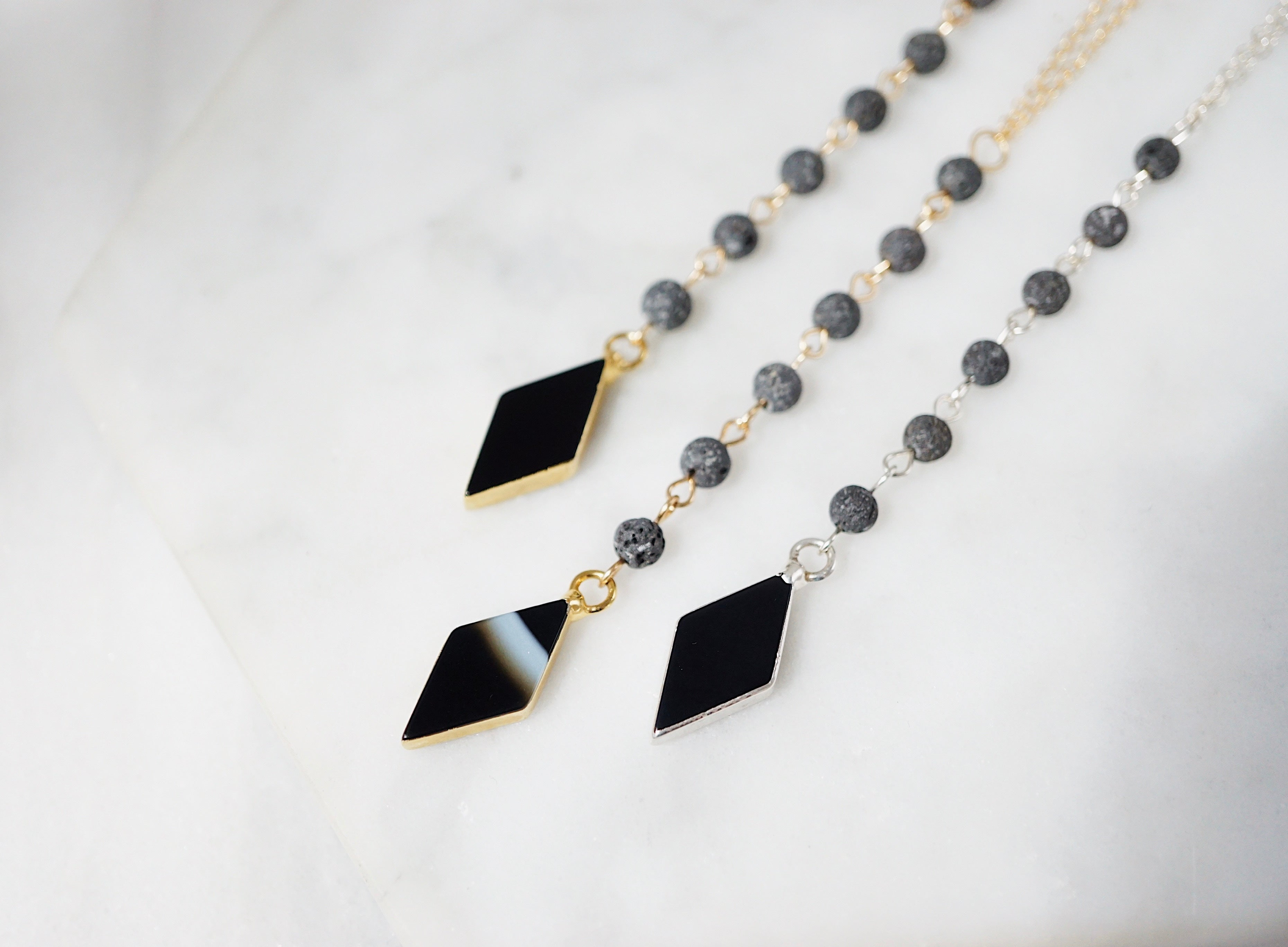 Black Agate Diamond & Lava Essential Oil Necklace