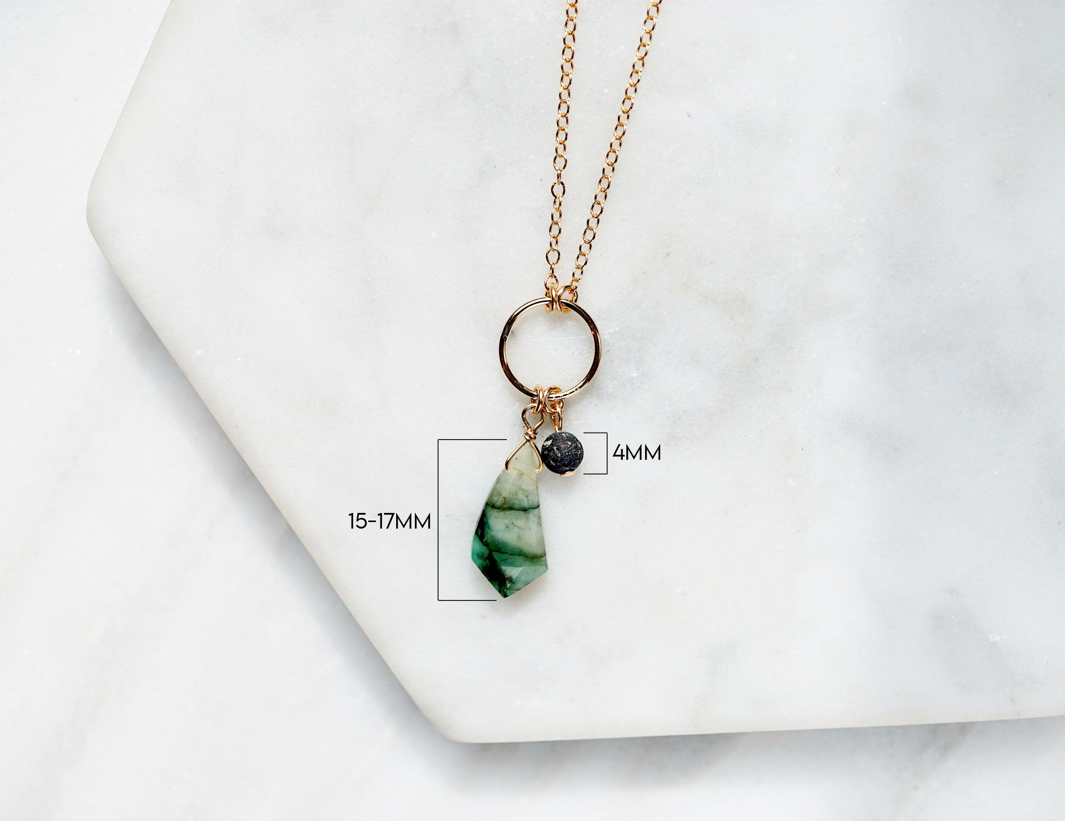NEW Emerald & Lava Aromatherapy Necklace, May Birthstone