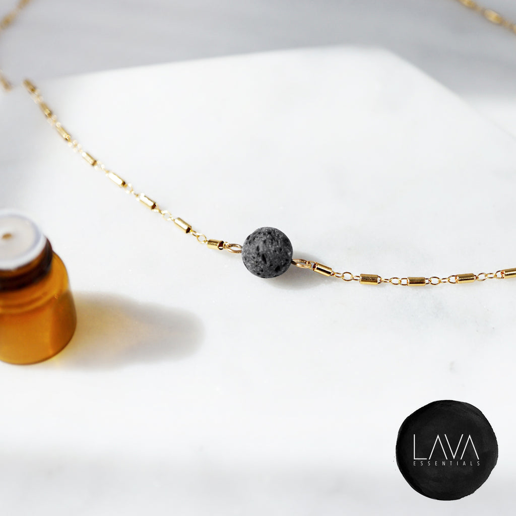 The Kaleidoscope Dainty Minimal Essential Oil Diffuser Lava Necklace [G]+[S] - Lava Essential Oils