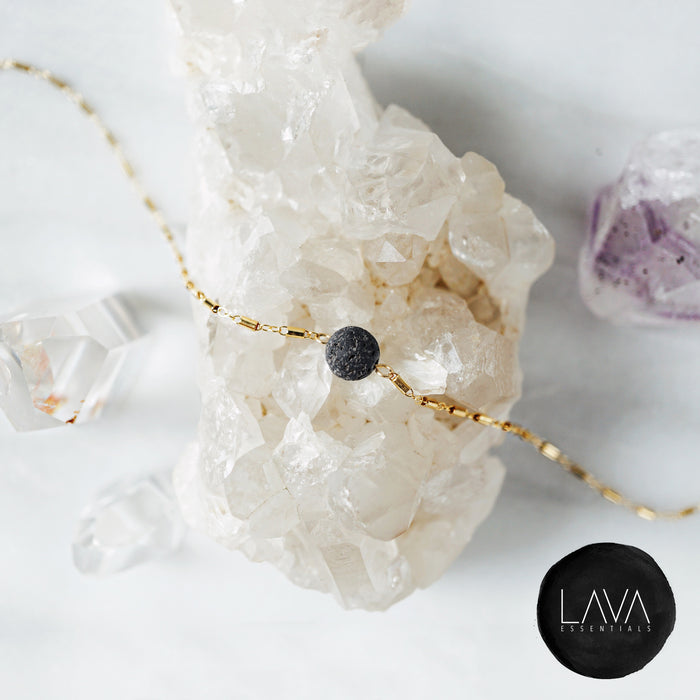 The Kaleidoscope Dainty Minimal Essential Oil Diffuser Lava Necklace [G]+[S]