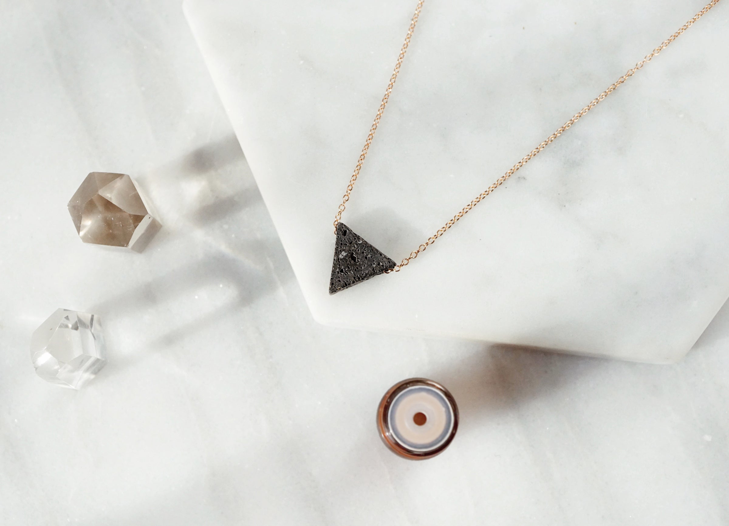 Minimal Black Triangle Necklace, Essential Oil Diffuser, Aromatherapy Necklace