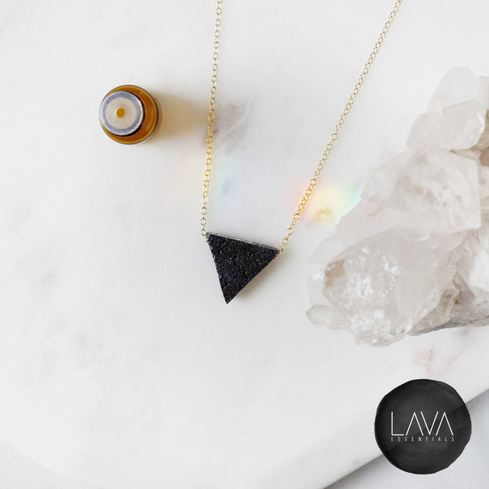Lava Triangle Essential Oil Diffuser Necklace - MULTIPLE CHAIN OPTIONS - Lava Essential Oils