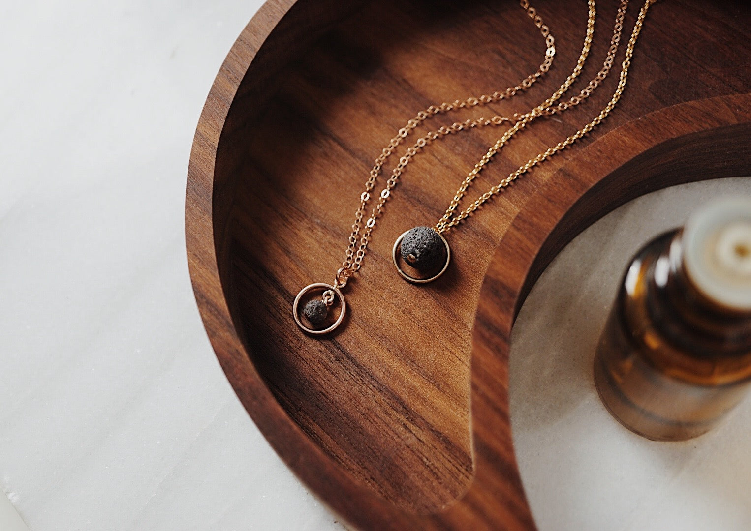 Circle Lava Necklace, Essential Oil Necklace, Diffuser Jewelry