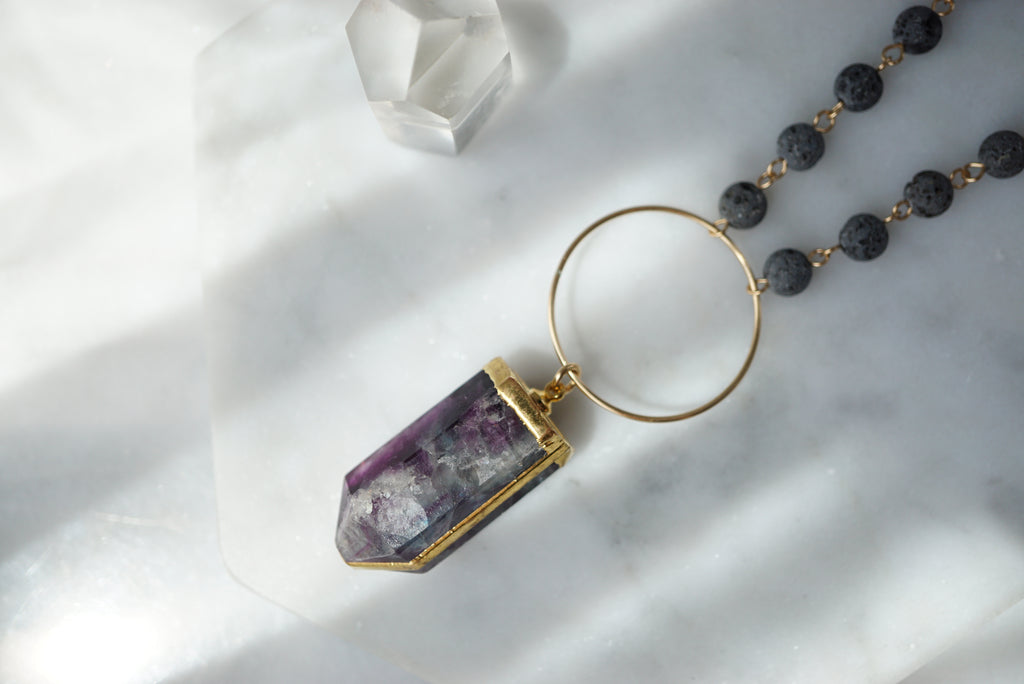 Fluorite + Lava Gold Aromatherapy Necklace - ONE OF A KIND - Lava Essential Oils