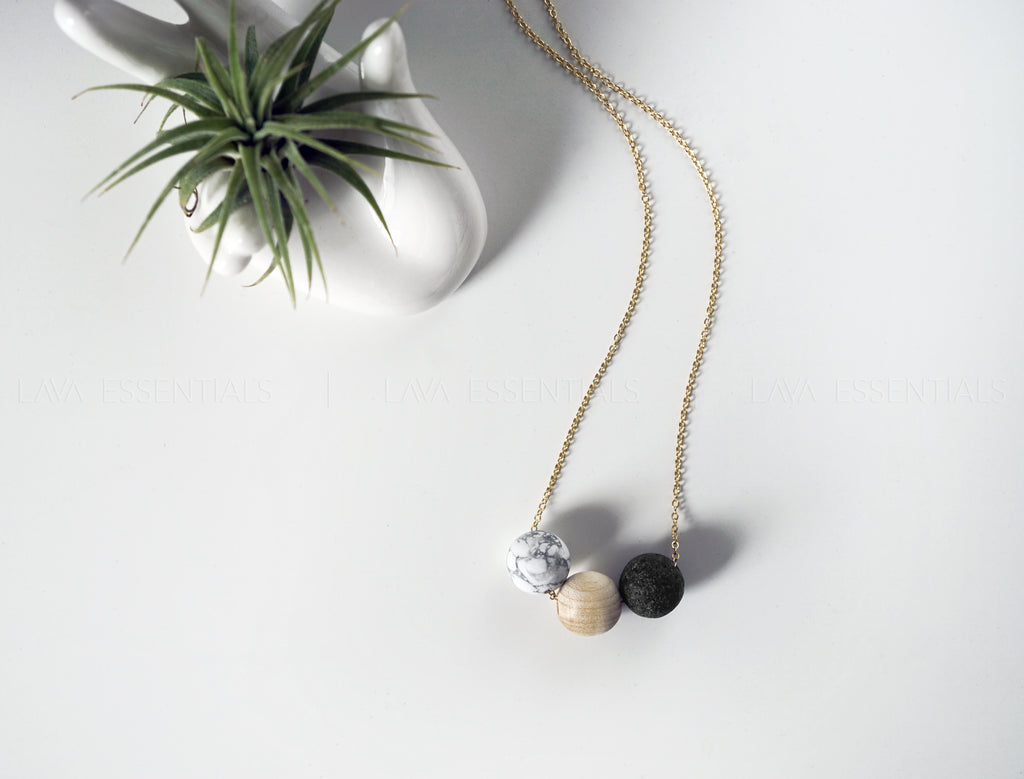 "Marble, Wood, Lava Bead Minimalist Essential Oil Necklace Diffuser - 20"" - Lava Essential Oils"