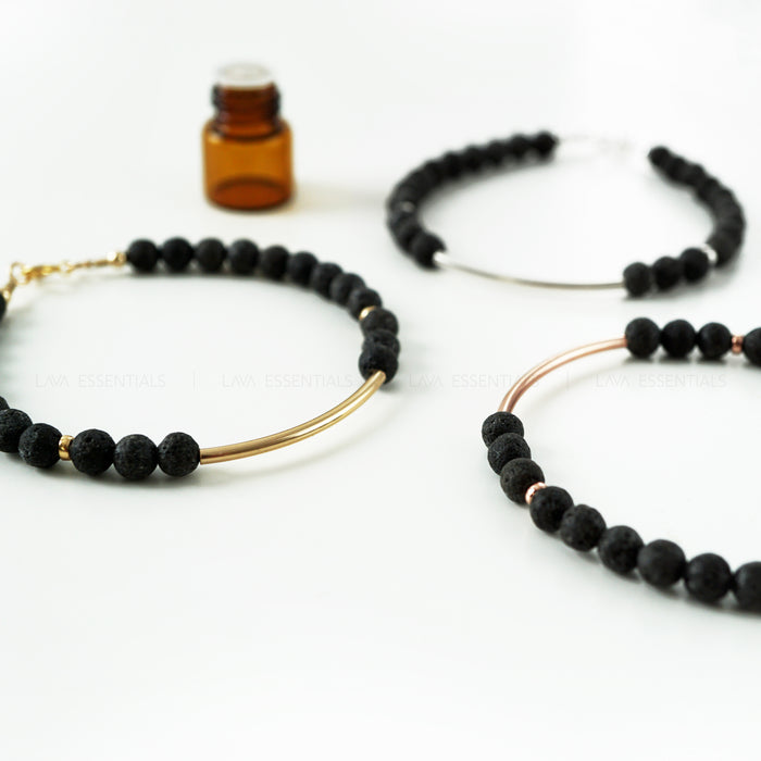 essential oil bracelet, lava beads & curved bar, small cool bracelet