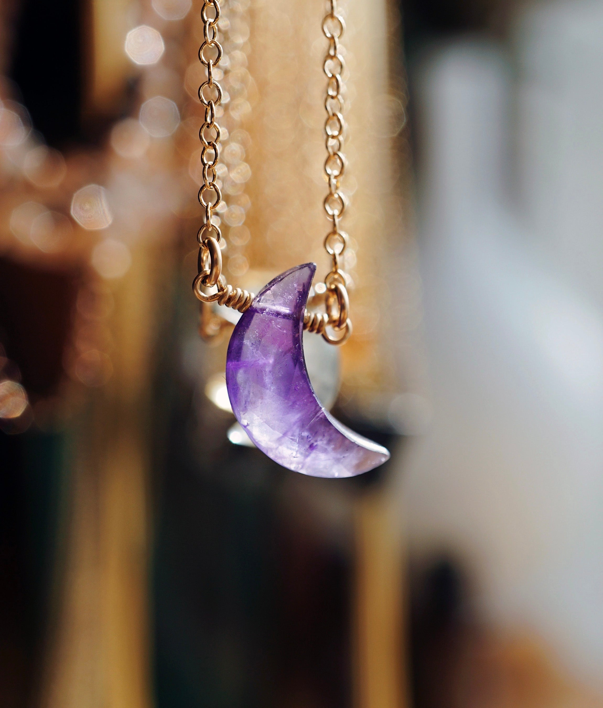 Dainty amethyst crystal necklace, purple crescent moon stone, essential oil diffuser necklace