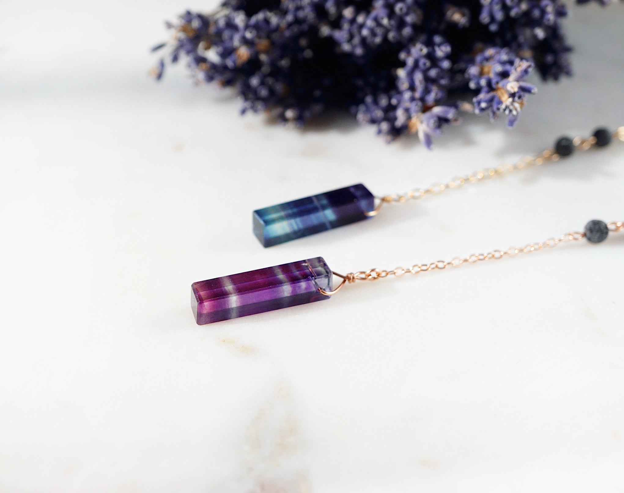 colorful rainbow fluorite bar essential oil necklace