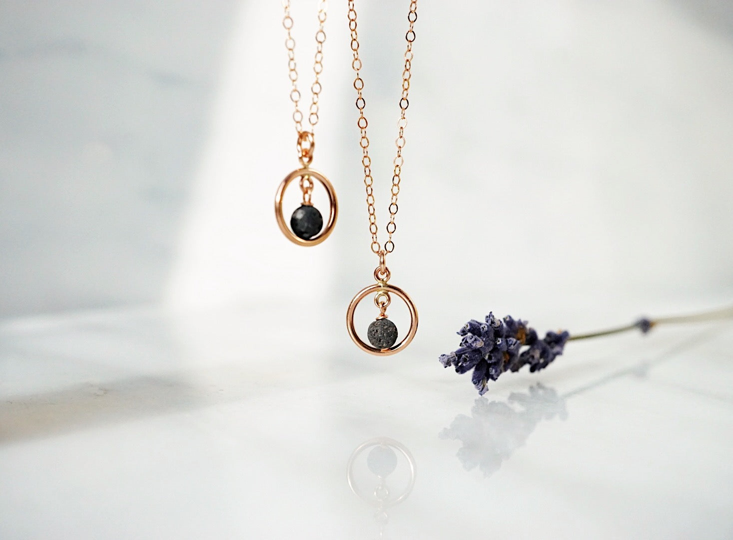 Dainty Rose Gold Eternal Moon Lava Essential Oil Necklace