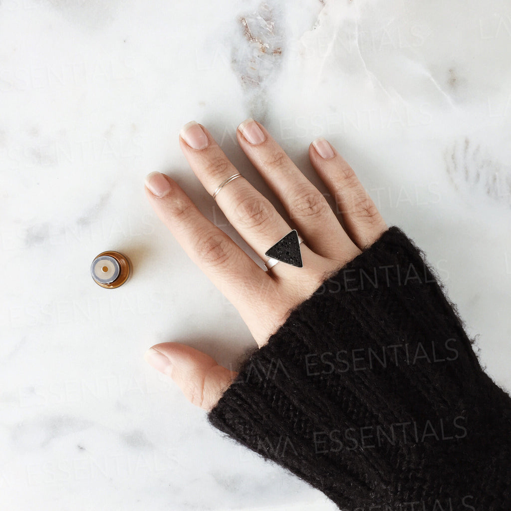 Lava Triangle Aromatherapy Ring • .925 Sterling Silver, Minimalist Handcrafted Essential Oil Diffuser Ring - Lava Essential Oil Jewelry