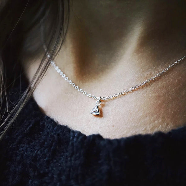 Diamond Triangle Sterling Silver Dainty Necklace