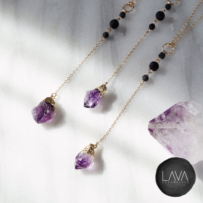 Dainty Amethyst Nugget & Lava Bead Gold Necklace - MULTIPLE CHAIN OPTIONS - Lava Essential Oils