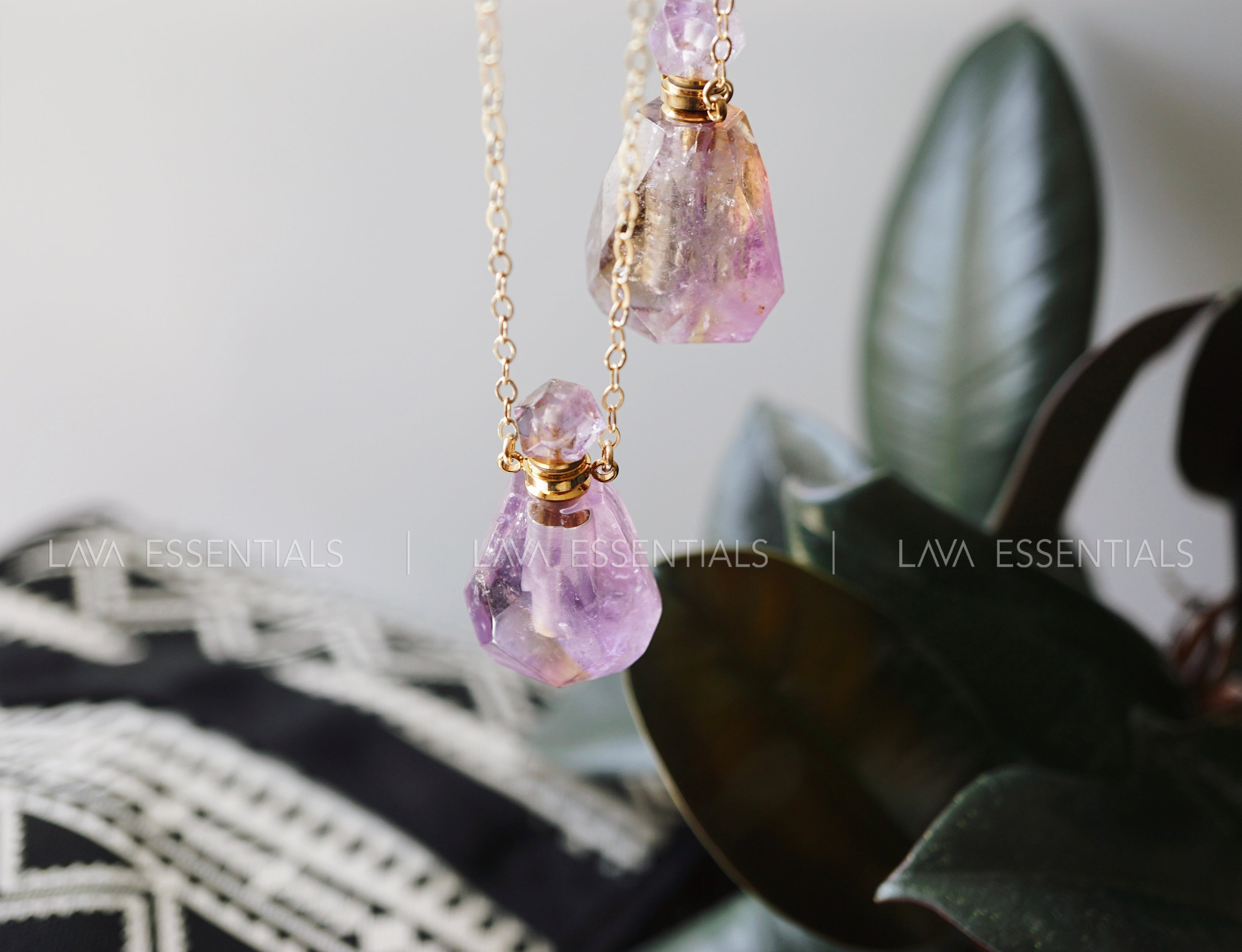 Amethyst Petite Gemstone Perfume Bottle Essential Oil Necklace with Glass Wand Applicator [S]+[G] - Lava Essential Oils