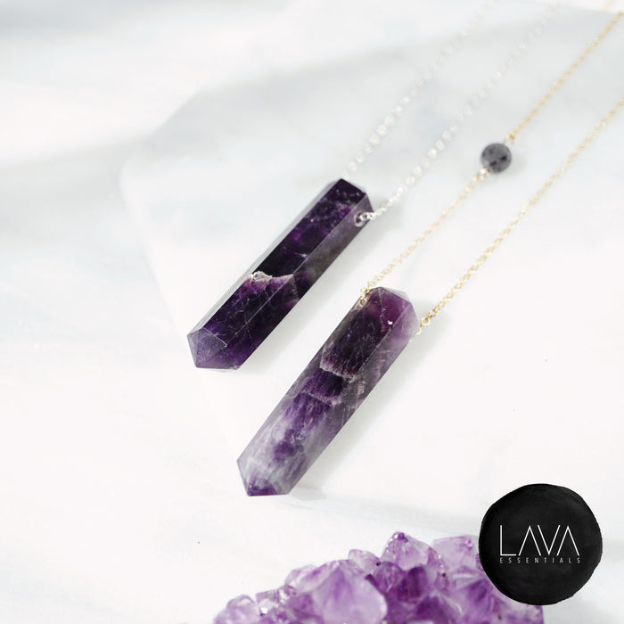Amethyst Infinity Crystal Aroma Necklace
