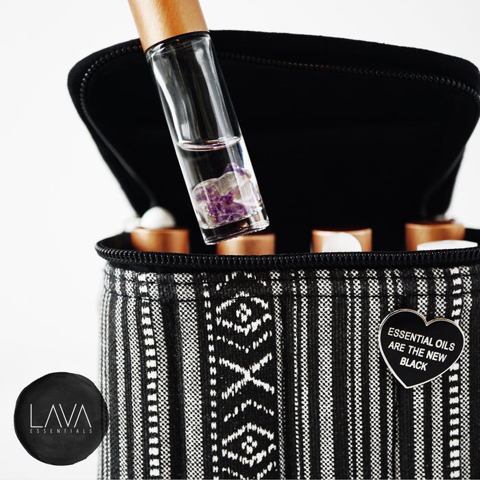 Black 16 Roller, Dropper, Oil Bottle Essential Oil Bag with Handle - Lava Essential Oils