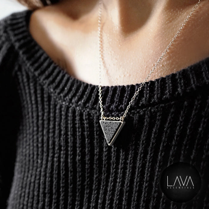 Lava Triangle Bezel Pendant Aromatherapy Necklace - Pure & Sterling Silver