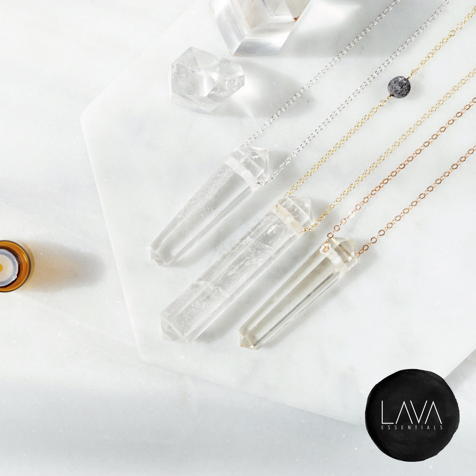 Clear Quartz Crystal Infinity Aroma Necklace [G]+[S]+[RG] - Lava Essential Oils