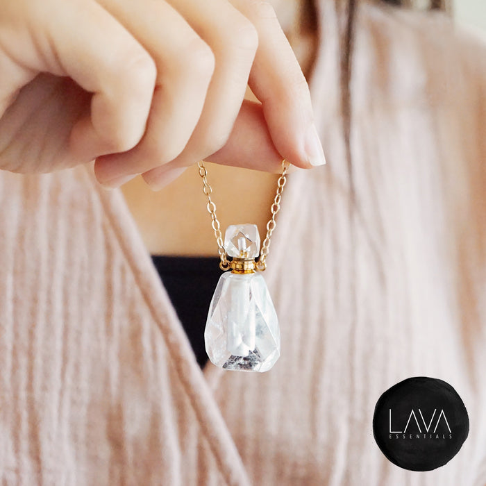 Crystal Quartz Petite Gemstone Perfume Bottle Essential Oil Necklace, Silver or Gold [S]+[G] - Lava Essential Oils