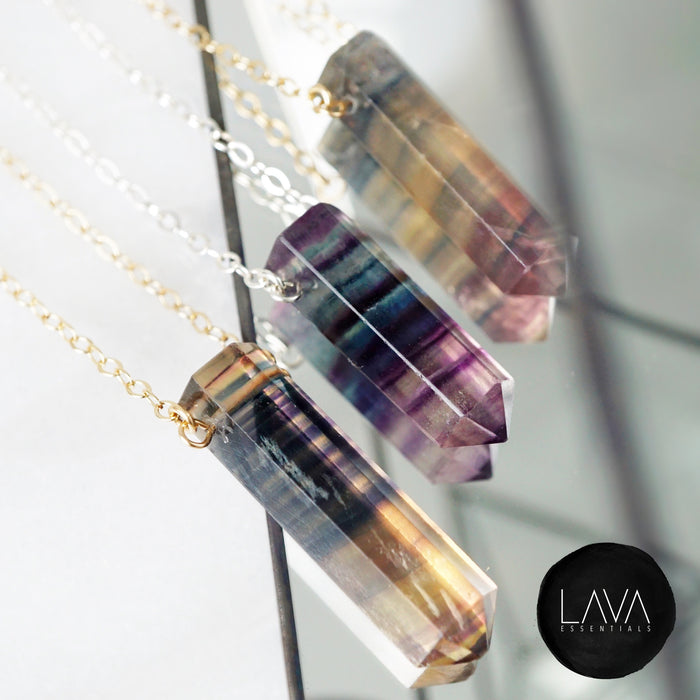 Rainbow Fluorite Aromatherapy Necklace [G]+[S] - Lava Essential Oils