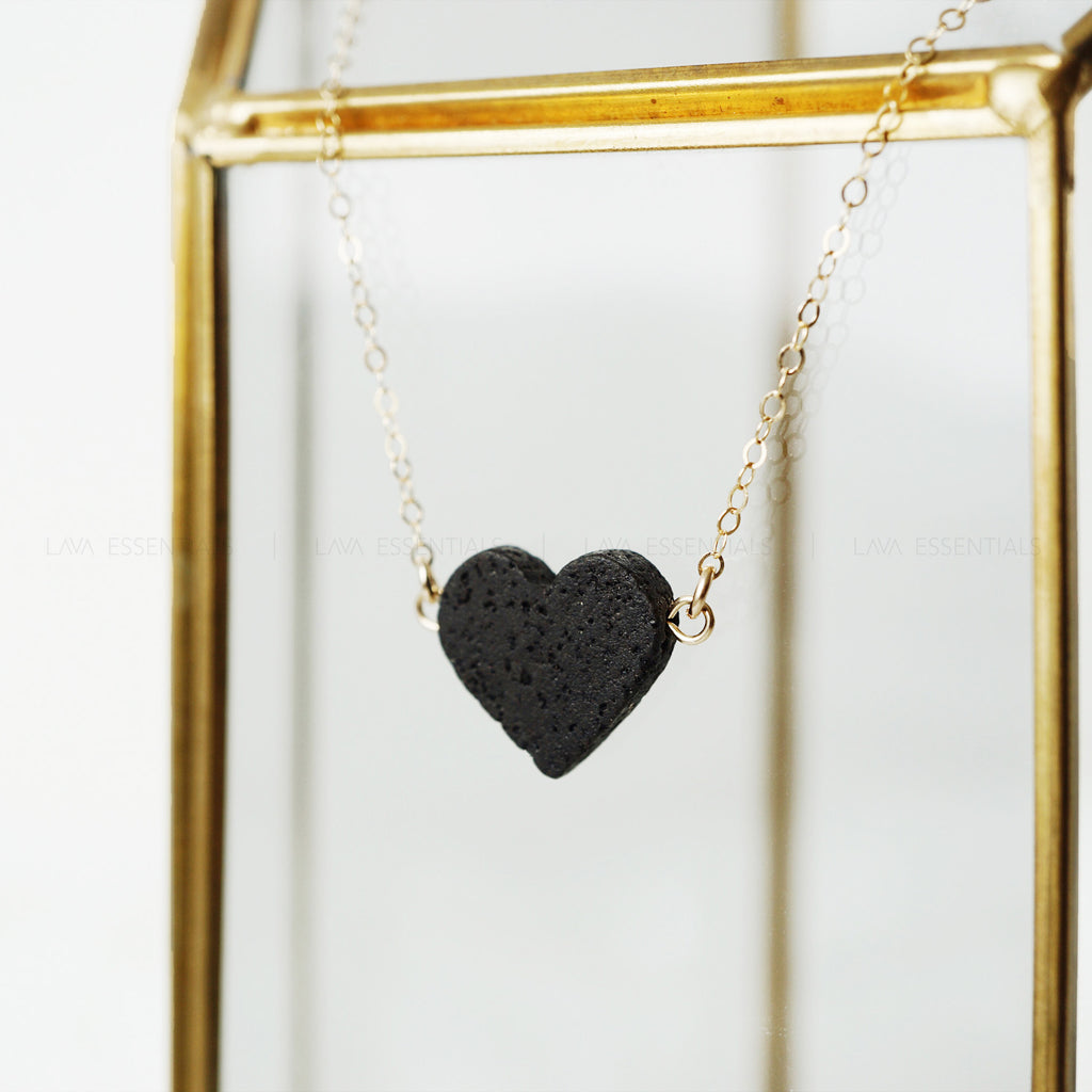 Dainty Lava Heart Minimalist Essential Oil Diffuser Necklace - MULTIPLE CHAIN OPTIONS - Lava Essential Oils