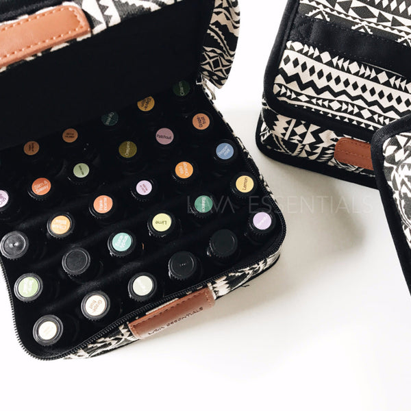Essential Oil Case • 30 bottles 5ml, 10ml, 15ml • Black Boho Print Essential Oil Case Carrying Bag - Lava Essential Oils