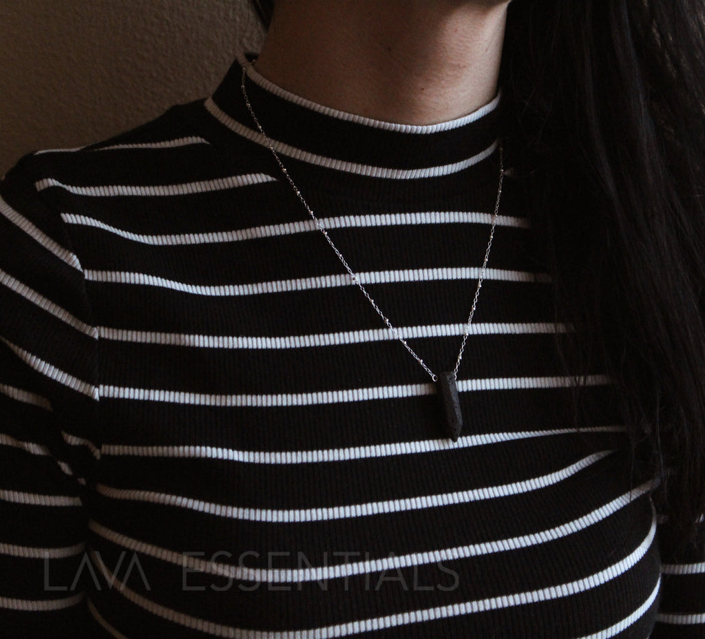 Lava Point Pendant Pendulum Minimalist Essential Oil Diffuser Necklace - MULTIPLE CHAIN OPTIONS - Lava Essential Oils