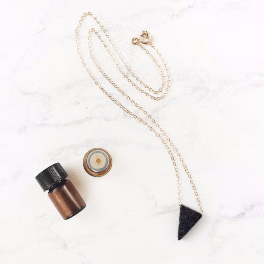 Slender Lava Triangle - Dainty Lava Triangle Essential Oil Necklace [G]+[S]+[RG] - Lava Essential Oils