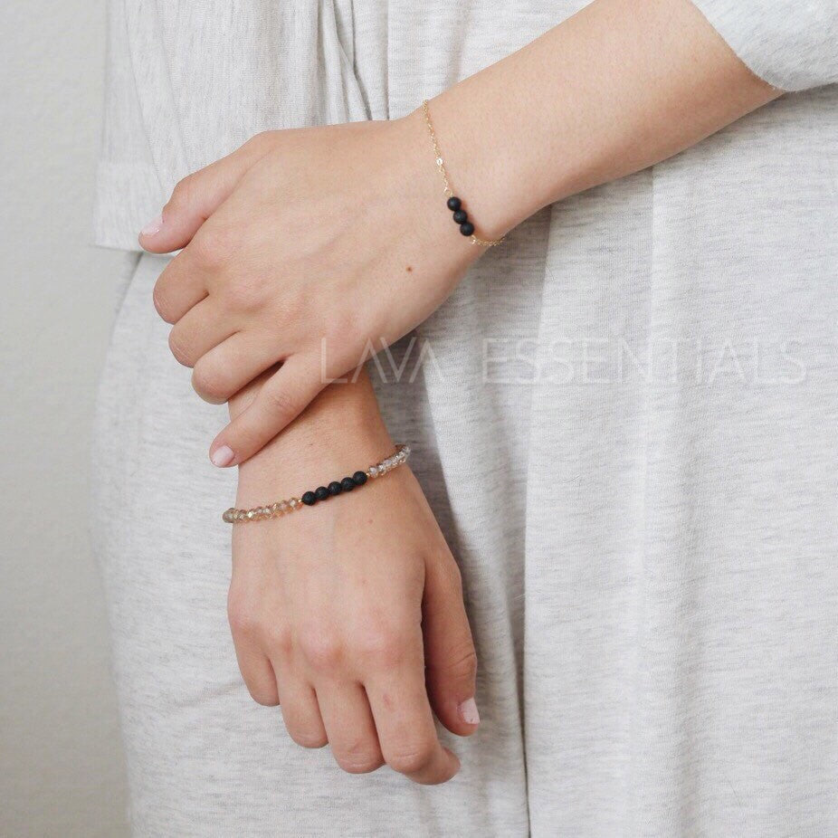 Dainty Triple Lava Minimalist Essential Oil Diffuser Bracelet - MULTIPLE BEAD & CHAIN OPTIONS - Lava Essential Oils