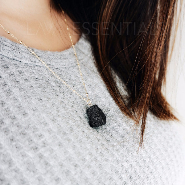 Lava Nugget - Minimalist Lava Essential Oil Diffuser Necklace [G]+[S] - Lava Essential Oils