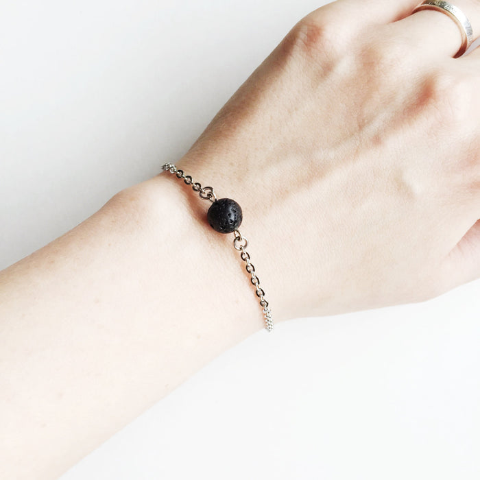 Minimal Single Lava Bead Essential Oil Diffuser Bracelet - Stainless Steel Silver - Lava Essential Oils