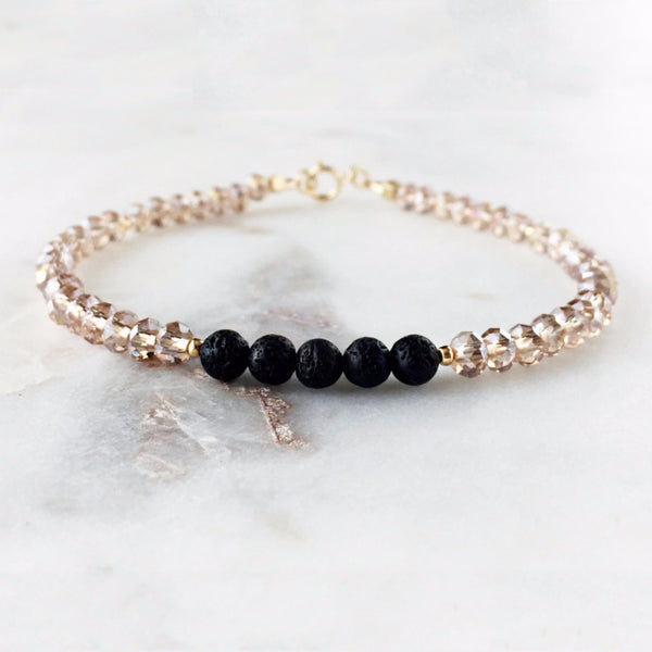 Champagne Faceted & Lava Bead Minimalist Essential Oil Diffuser Bracelet - 14k Gold-filled - Lava Essential Oils
