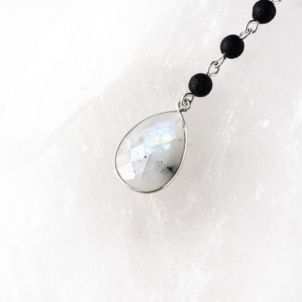 Rainbow Moonstone Teardrop & Lava Bead Essential Oil Minimalist Necklace - 2 Lengths - Lava Essential Oils