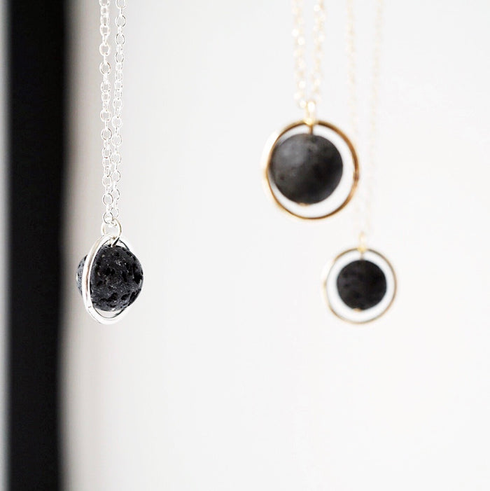 Eternal Moon Lava Essential Oil Necklace [G]+[S] - Lava Essential Oils