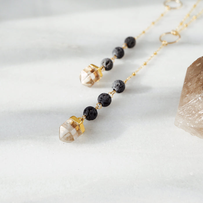 Dainty Light Smoky Crystal & Lava Bead Gold Necklace - Lava Essential Oils
