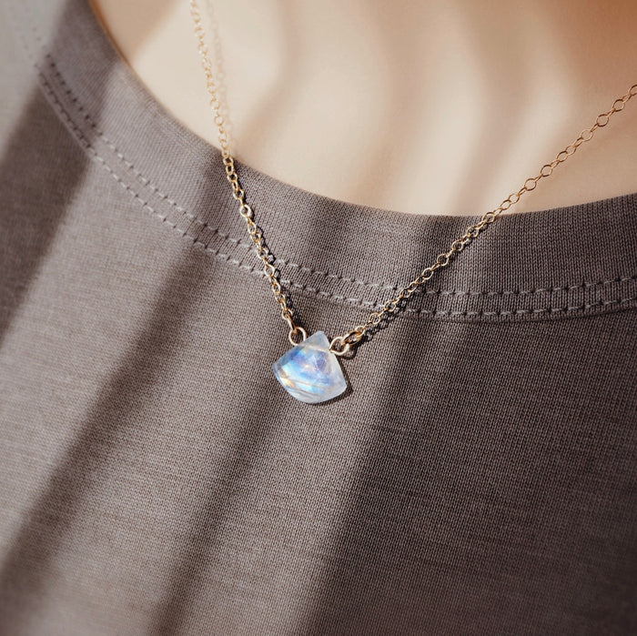 Petite Petal Rainbow Moonstone Necklace + Lava Charm [G]+[S] - Lava Essential Oils