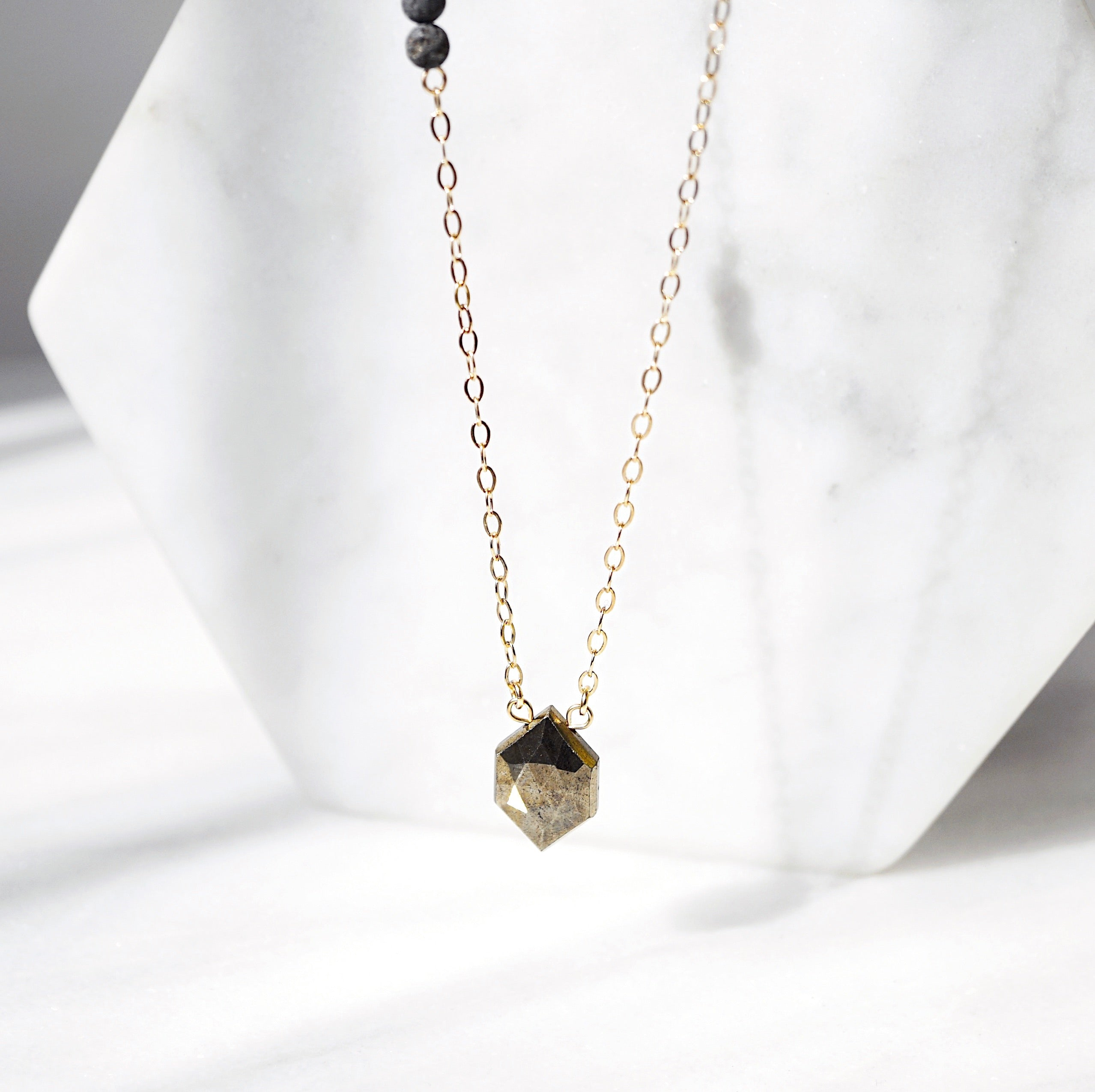 EMF Collection ☼ Petite Diamond Pyrite & Lava Necklace [G]+[S] - Lava Essential Oils