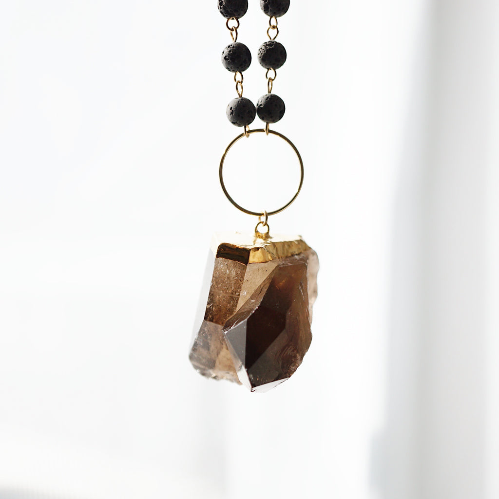 Gold Electroplated Large Smokey Quartz Aromatherapy Necklace - Lava Essential Oils