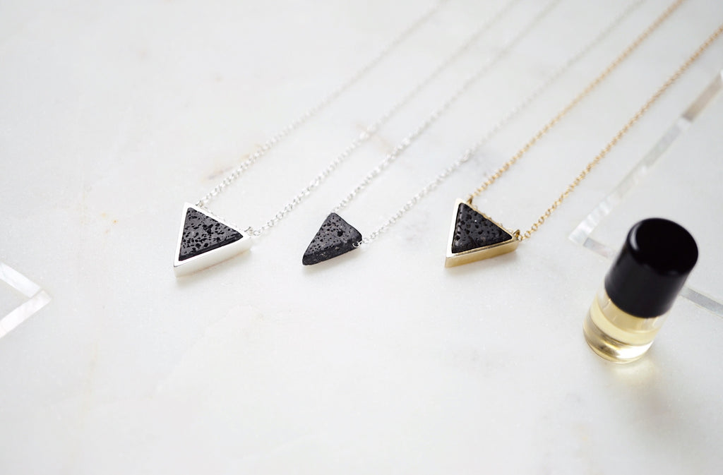 Dainty Bezeled Lava Triangle Aromatherapy Necklace, volcanic triangle, essential oil diffuser necklace
