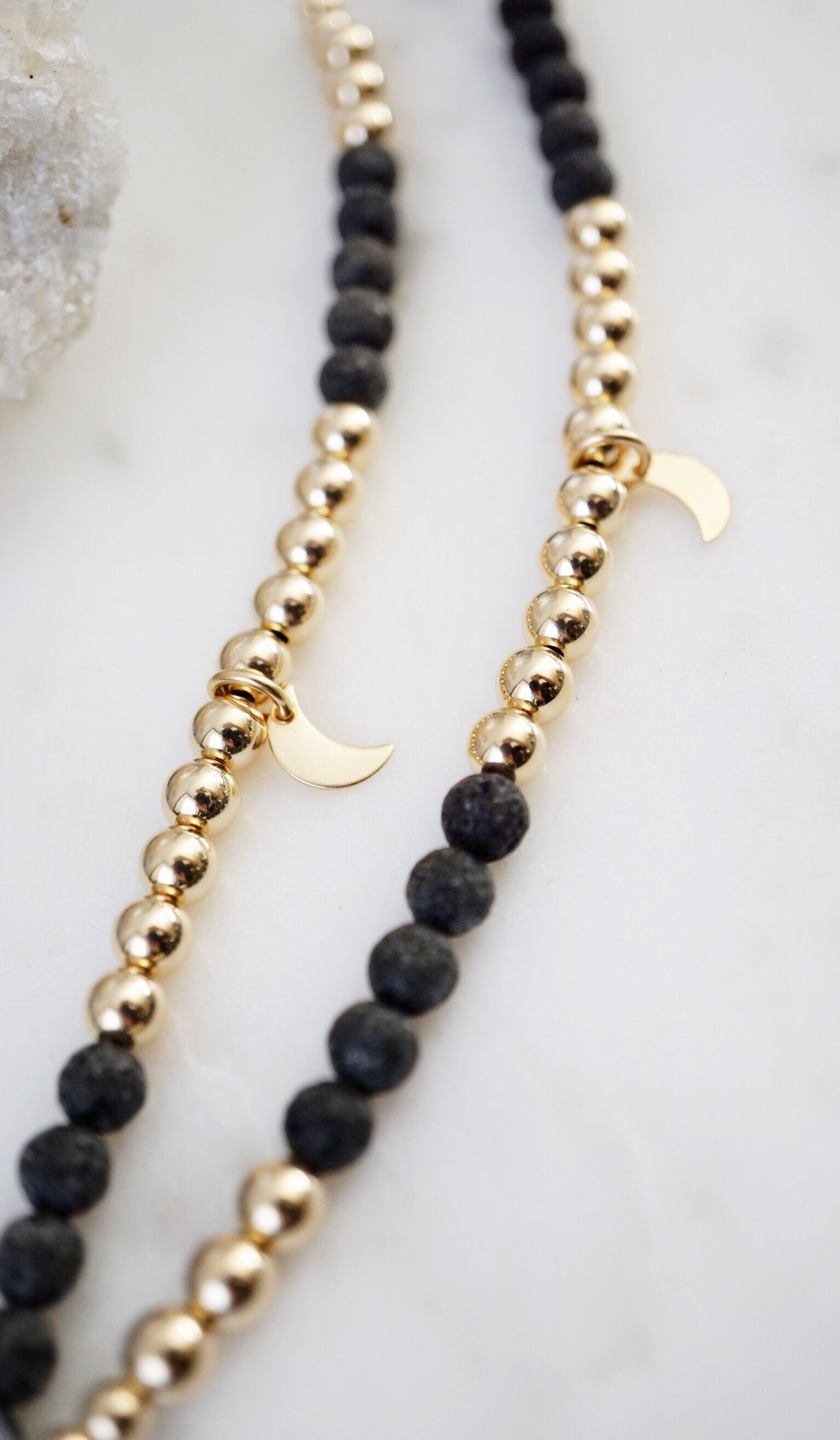 LUX Dainty 14K Gold-fill Lava Bracelet ▾ Limited Edition (025) - Lava Essential Oils